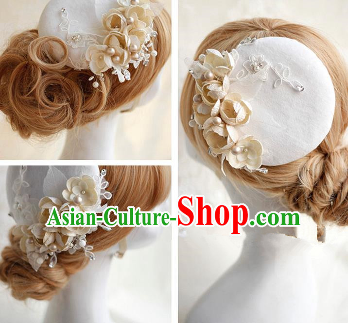 Top Grade Handmade Wedding Bride Hair Accessories Lace Hat, Traditional Princess Baroque Beige Flowers Top Hat Headpiece for Women