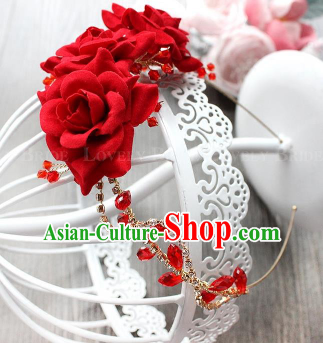 Top Grade Handmade Wedding Bride Hair Accessories Red Flowers Headband, Traditional Princess Baroque Rose Hair Clasp Headpiece for Women
