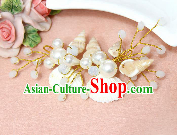 Top Grade Handmade Wedding Bride Hair Accessories Pearl Shell Hair Claws, Traditional Princess Baroque White Beads Hair Stick Headpiece for Women