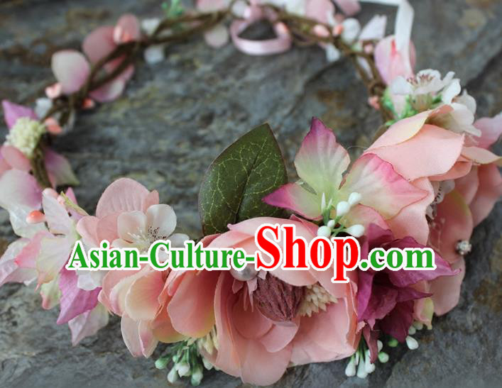 Top Grade Handmade Wedding Bride Hair Accessories Pink Flowers Garland, Traditional Princess Baroque Hair Clips Headpiece for Women