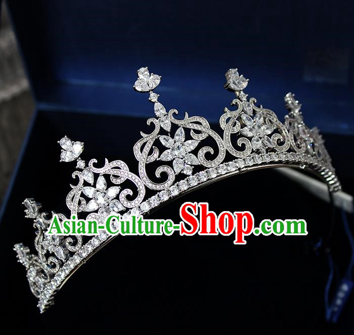 Top Grade Handmade Wedding Hair Accessories Bride Luxury Princess Crystal Crown, Traditional Baroque Royal Crown Wedding Headwear for Women