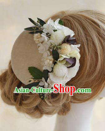 Top Grade Handmade Wedding Bride Hair Accessories Beige Flowers Hats, Traditional Princess Baroque Top Hat Headpiece for Women