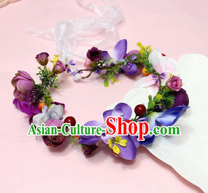 Top Grade Handmade Wedding Hair Accessories Bride Purple Flowers Garland, Traditional Princess Baroque Hair Clips Headpiece for Women