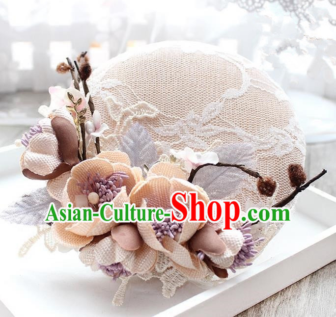 Top Grade Handmade Wedding Bride Hair Accessories Beige Flowers Lace Hats, Traditional Princess Baroque Top Hat Headpiece for Women