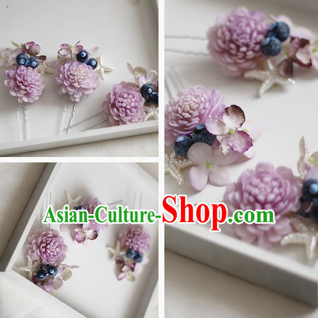 Top Grade Handmade Wedding Bride Hair Accessories Lilac Flowers Headwear, Traditional Princess Baroque Hair Stick Headpiece Hairpins Complete Set for Women