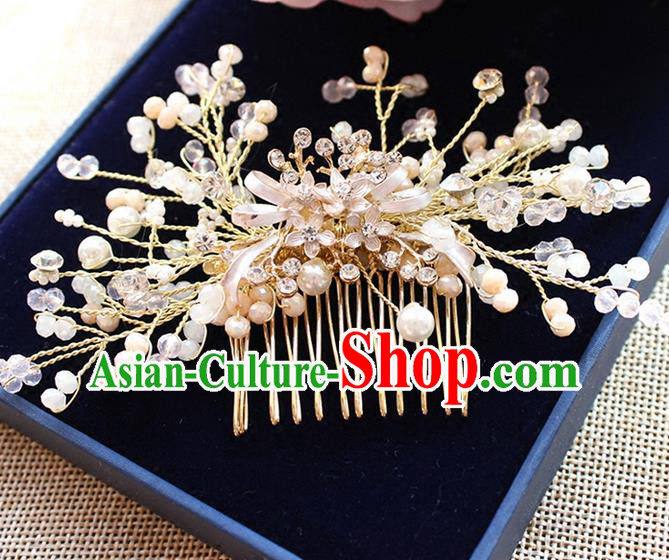 Top Grade Handmade Wedding Bride Hair Accessories Pearl Hairpins, Traditional Princess Baroque Hair Comb Headpiece for Women