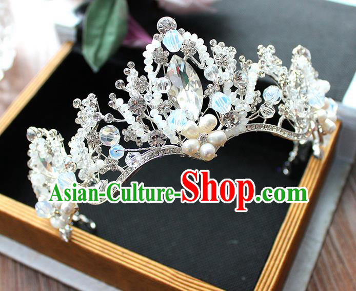 Top Grade Handmade Wedding Hair Accessories Bride Luxury Pearl Queen Crown, Traditional Baroque Crystal Royal Crown Wedding Headwear for Women
