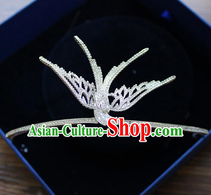 Top Grade Handmade Wedding Hair Accessories Bride Luxury Zircon Pigeon Crown, Traditional Baroque Crystal Queen Royal Crown Wedding Headwear for Women