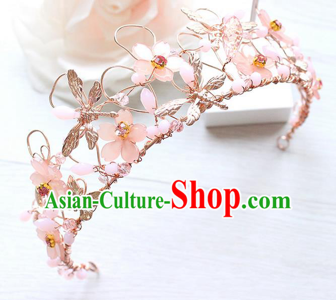 Top Grade Handmade Wedding Hair Accessories Bride Luxury Pink Crystal Crown, Traditional Baroque Queen Royal Crown Wedding Headwear for Women