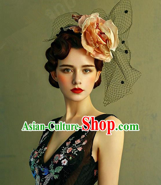 Top Grade Handmade Wedding Bride Hair Accessories Flowers Veil Hats, Traditional Princess Baroque Top Hats Headpiece for Women