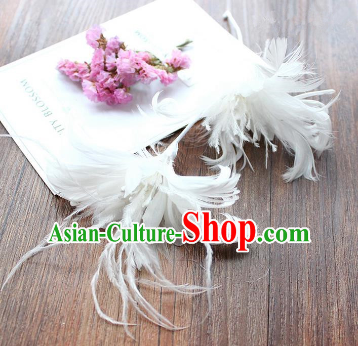 Top Grade Handmade Wedding Bride Hair Accessories White Feather Hairpins, Traditional Princess Baroque Hair Stick Headpiece for Women