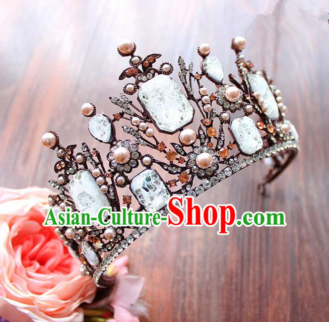 Top Grade Handmade Wedding Hair Accessories Bride Luxury Queen Crown, Traditional Baroque Crystal Royal Crown Wedding Headwear for Women