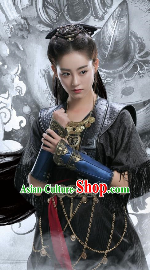 Traditional Ancient Chinese Chivalrous Women Costume and Handmade Headpiece Complete Set, Elegant Hanfu Clothing Chinese Swordswoman Armor Dress Clothing