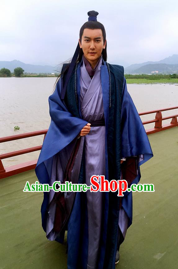 Traditional Ancient Chinese Nobility Childe Costume and Handmade Headpiece Complete Set, Elegant Hanfu Clothing Chinese Imperial Prince Robe Clothing