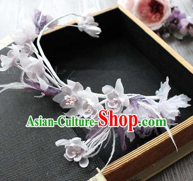 Top Grade Handmade Wedding Bride Hair Accessories Purple Flower Garland Hair Clasp, Traditional Princess Baroque Headband Headpiece for Women