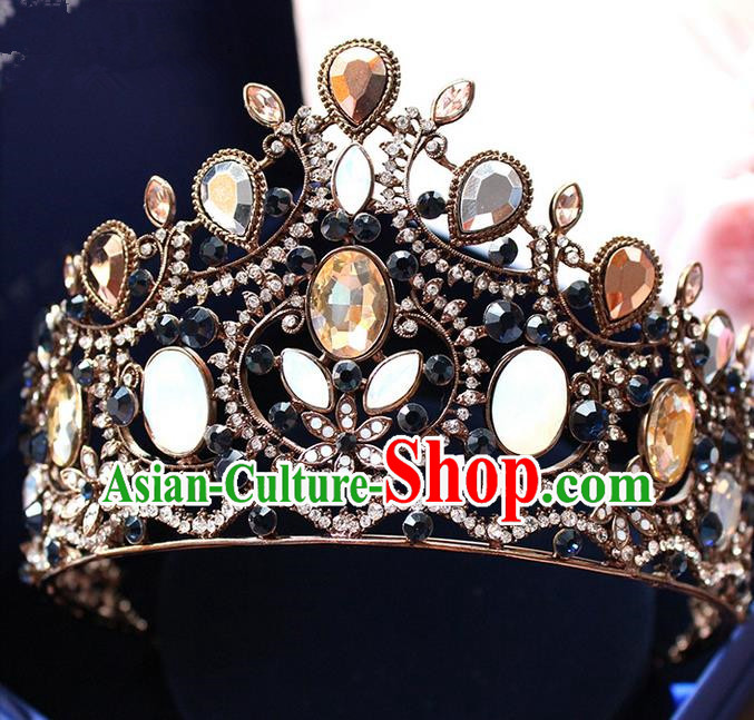 Top Grade Handmade Wedding Hair Accessories Bride Vintage Queen Crown, Traditional Baroque Princess Crystal Royal Crown Wedding Headwear for Women