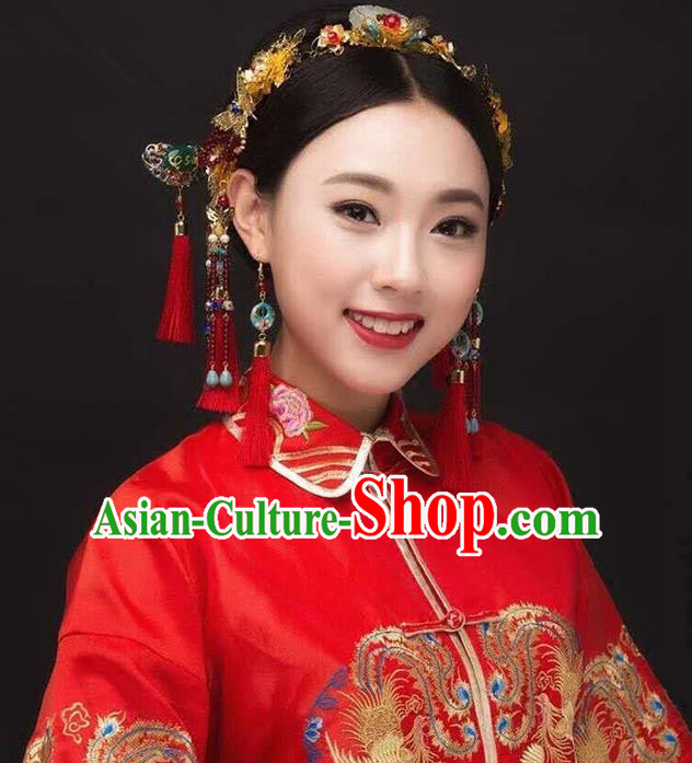 Top Grade Chinese Handmade Wedding Agate Hair Accessories Forehead Ornament, Traditional China Xiuhe Suit Phoenix Coronet Bride Tassel Hairpins Headdress for Women