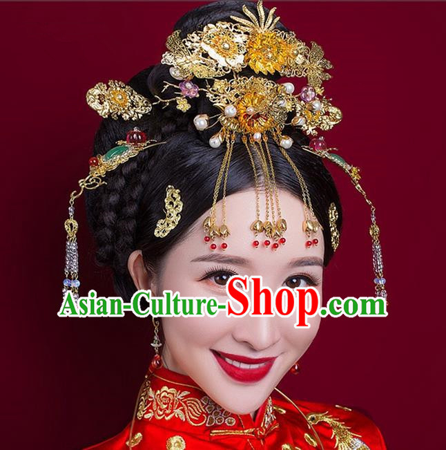 Top Grade Chinese Handmade Wedding Hair Accessories Complete Set Forehead Ornament, Traditional China Xiuhe Suit Phoenix Coronet Bride Tassel Hairpins Headdress for Women