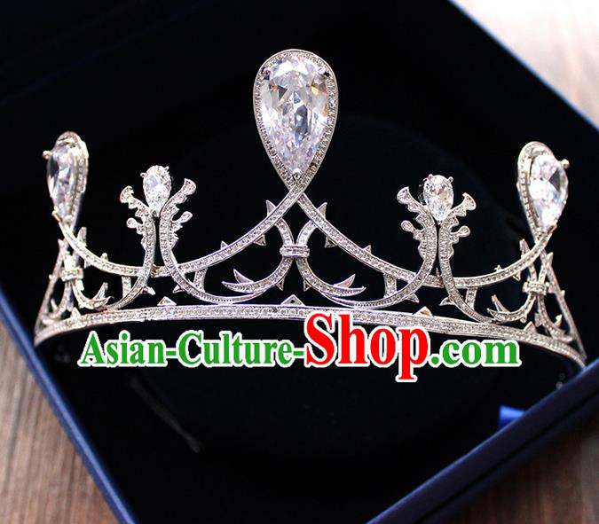 Top Grade Handmade Wedding Hair Accessories Bride Vintage Crown, Traditional Baroque Queen Crystal Royal Crown Wedding Headwear for Women