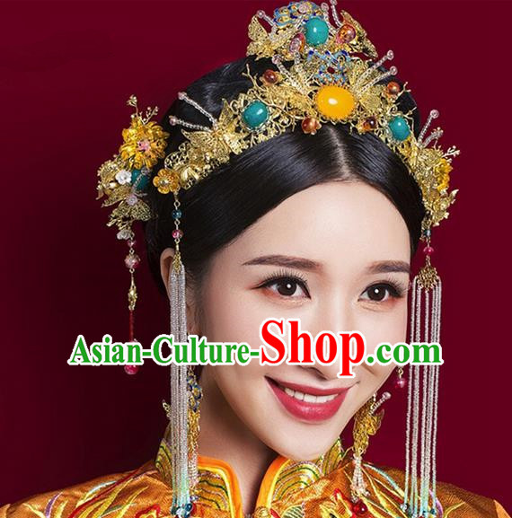 Top Grade Chinese Handmade Wedding Hair Accessories Step Shake Complete Set, Traditional China Xiuhe Suit Phoenix Coronet Bride Tassel Hairpins Headdress for Women