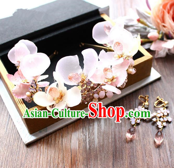 Top Grade Handmade Wedding Bride Hair Accessories Pink Flowers Hair Stick and Earrings, Traditional Princess Baroque Hair Claws Headpiece for Women