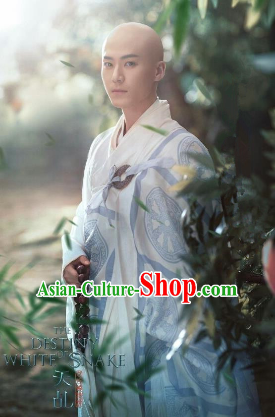 Traditional Ancient Chinese Monk Costume, Chinese Madam White Snake Fa hai Frock Monk Robes for Men