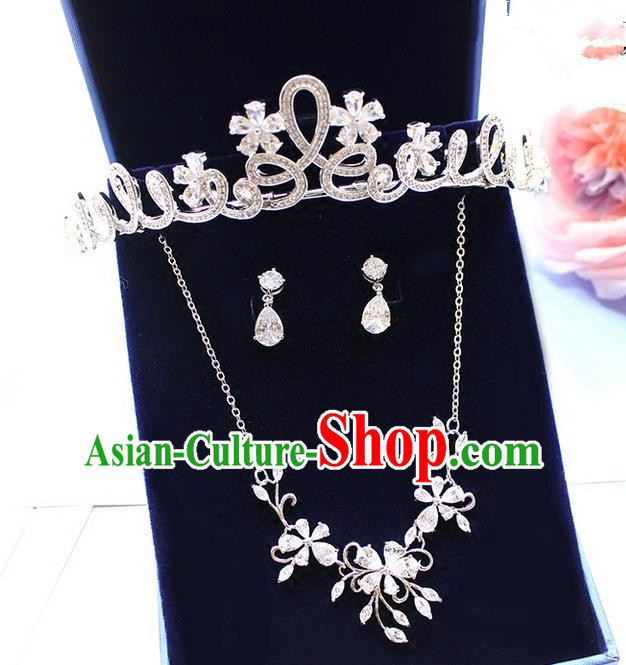 Top Grade Handmade Wedding Hair Accessories Bride Vintage Zircon Crown and Necklace Earrings, Traditional Baroque Queen Crystal Royal Crown Wedding Headwear Complete Set for Women