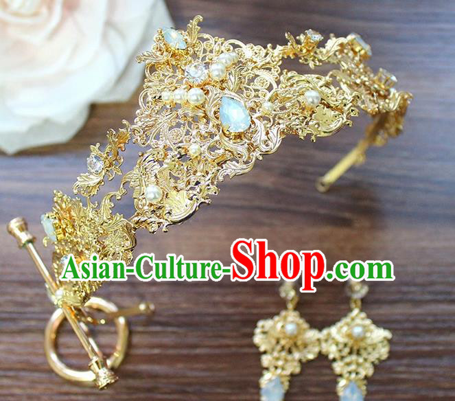 Top Grade Handmade Wedding Hair Accessories Bride Vintage Golden Crown and Earrings, Traditional Baroque Queen Crystal Royal Crown Wedding Headwear Complete Set for Women