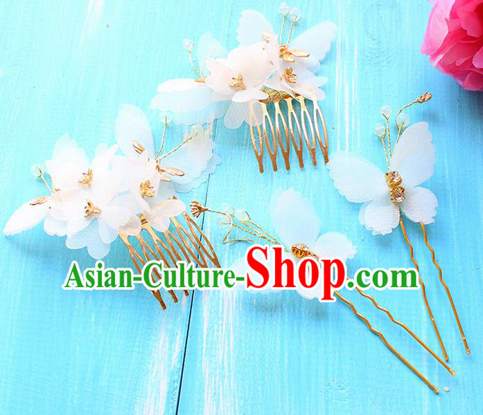 Top Grade Handmade Wedding Bride Hair Accessories Flowers Headband Hairpin, Traditional Princess Baroque Hair Comb Headpiece for Women