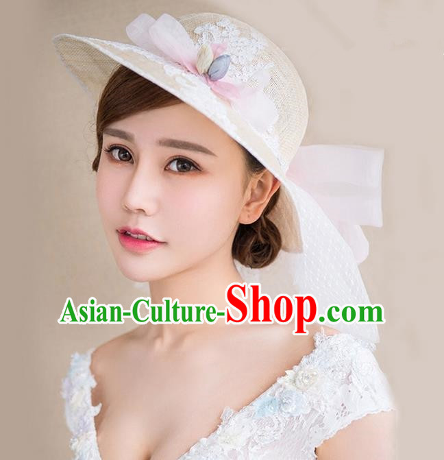 Top Grade Handmade Wedding Bride Hair Accessories Linen Veil Hat, Traditional Princess Baroque Satin Top Hat Headpiece for Women