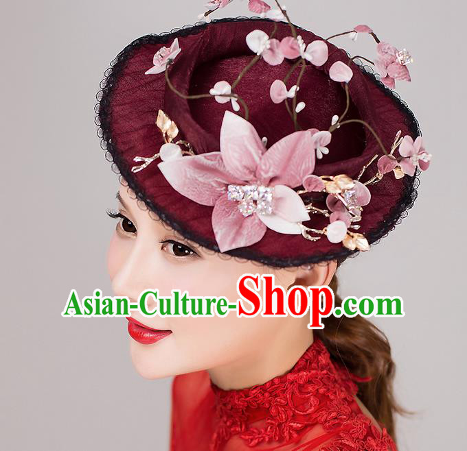 Top Grade Handmade Wedding Bride Hair Accessories Wine Red Top Hat, Traditional Baroque Princess Hat Headpiece for Women