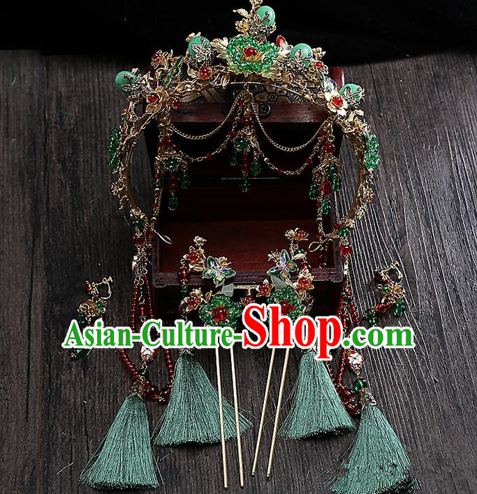 Top Grade Chinese Handmade Wedding Hair Accessories Hair Comb Complete Set, Traditional China Xiuhe Suit Bride Step Shake Phoenix Coronet Tassel Hairpins Headdress for Women