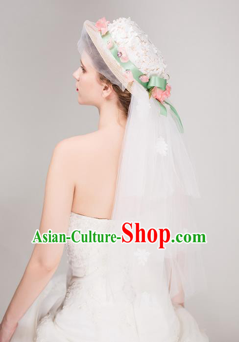 Top Grade Handmade Wedding Bride Hair Accessories Flower Top Hat, Traditional Baroque Princess Hats Headpiece for Women