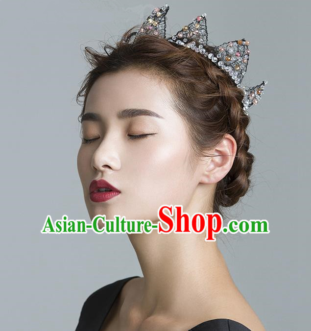 Top Grade Handmade Wedding Hair Accessories Bride Crystal Crown, Traditional Baroque Queen Black Royal Crown Wedding Headwear for Women