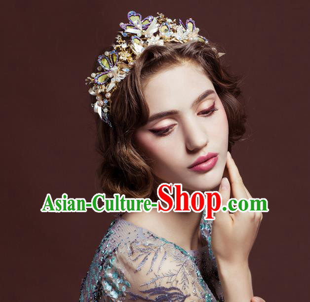 Top Grade Handmade Wedding Hair Accessories Bride Crystal Crown, Traditional Baroque Queen Pearl Royal Crown Wedding Headwear for Women