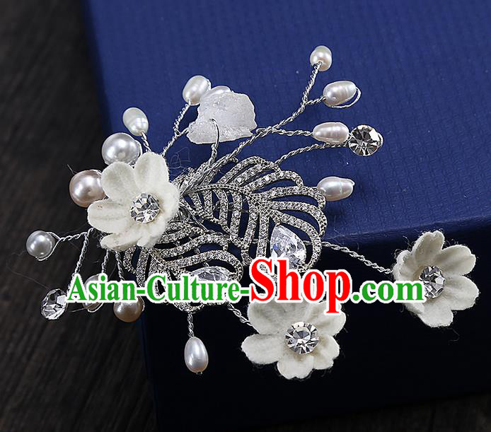 Top Grade Handmade Wedding Bride Hair Accessories Zircon Hair Claw, Traditional Princess Baroque Hair Stick Headpiece for Women