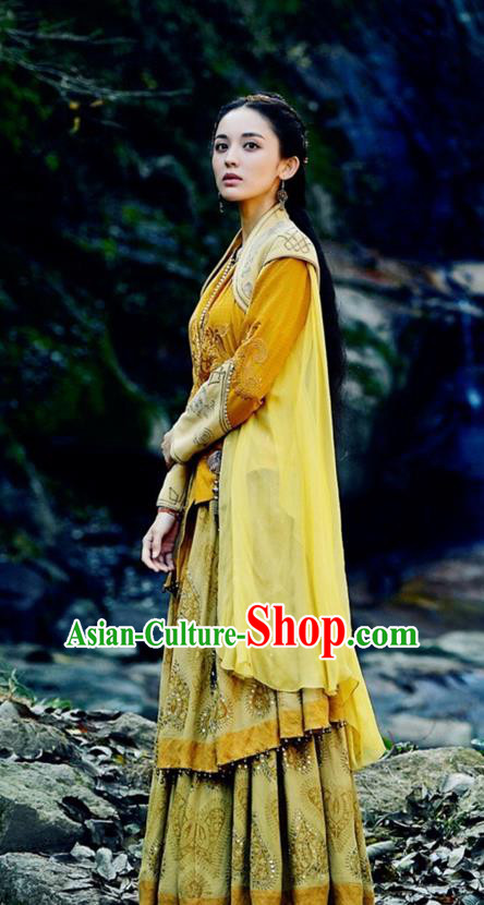 Traditional Ancient Chinese National Minority Princess Costume and Handmade Headpiece Complete Set, Chinese Ancient Swordswoman Embroidered Dress Clothing for Women
