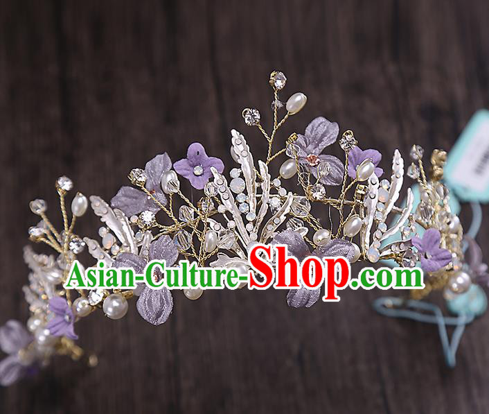 Top Grade Handmade Wedding Hair Accessories Bride Princess Purple Hair Clasp Crown, Traditional Baroque Queen Retro Crystal Royal Crown Wedding Headwear for Women