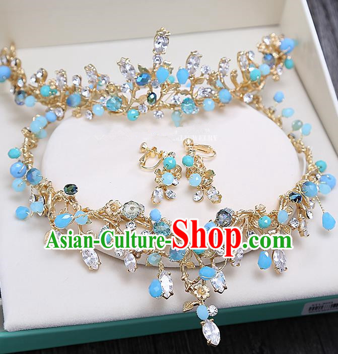 Top Grade Handmade Wedding Hair Accessories Bride Princess Blue Beads Hair Clasp and Necklace Earrings, Traditional Baroque Queen Retro Crystal Royal Crown Wedding Headwear for Women