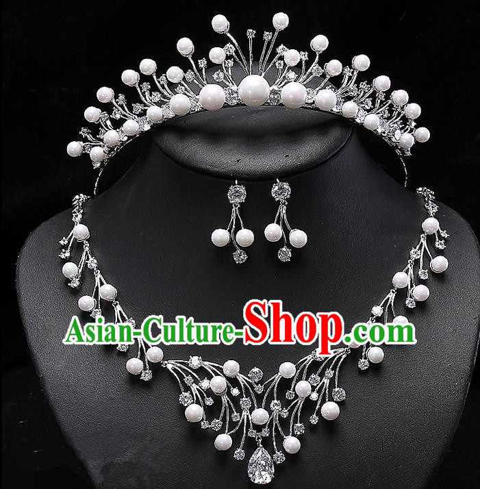 Top Grade Handmade Wedding Hair Accessories Bride Princess Zircon Imperial Crown and Necklace Earrings, Traditional Baroque Crystal Royal Crown Wedding Headwear for Women