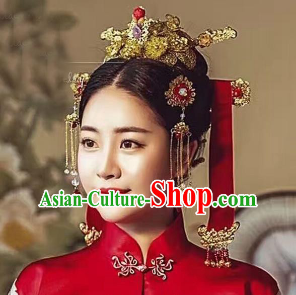 Top Grade Chinese Handmade Wedding Hair Accessories Phoenix Coronet, Traditional China Xiuhe Suit Bride Hairpins Tassel Step Shake Headdress for Women