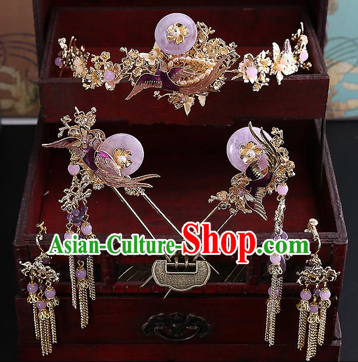 Top Grade Chinese Handmade Wedding Hair Accessories Complete Set, Traditional China Xiuhe Suit Bride Hairpins Hanfu Hair Comb Purple Tassel Step Shake Headdress for Women