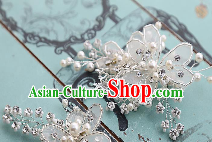 Top Grade Handmade Wedding Hair Accessories Bride Headband Beads Hair Claw, Traditional Baroque Princess Hair Stick Headdress for Women