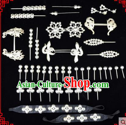 Chinese Ancient Peking Opera Head Accessories Diva Sliver Hairpins, Traditional Chinese Beijing Opera Princess Hua Tan Hair Clasp Head-ornaments Complete Set