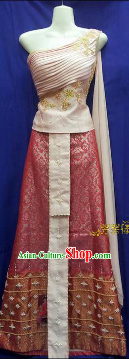 Traditional Traditional Thailand Female Clothing, Southeast Asia Thai Ancient Costumes Dai Nationality Sari Dress for Women