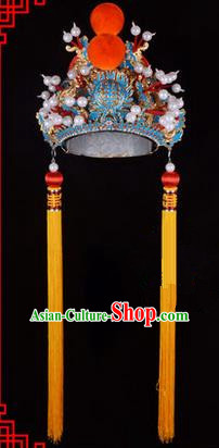 Traditional Chinese Ancient Peking Opera Accessories Emperor Hat, Traditional Chinese Beijing Opera Court King Headwear His Royal Highness Crown