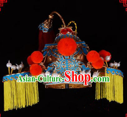 Traditional Chinese Ancient Peking Opera Accessories Senior Grand Tutor Hat, Traditional Chinese Beijing Opera Grand Councilor Headwear Top Grade Helmet Crown