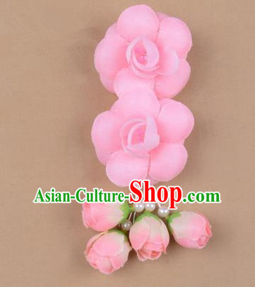 Chinese Ancient Peking Opera Hair Accessories Diva Temple Pink Flowers Hairpins, Traditional Chinese Beijing Opera Princess Hua Tan Hair Clasp Head-ornaments
