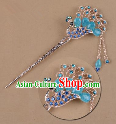 Top Grade Chinese Ancient Peking Opera Hair Accessories Diva Blue Crystal Peacock Hairpins Step Shake, Traditional Chinese Beijing Opera Princess Hua Tan Hair Clasp Head-ornaments