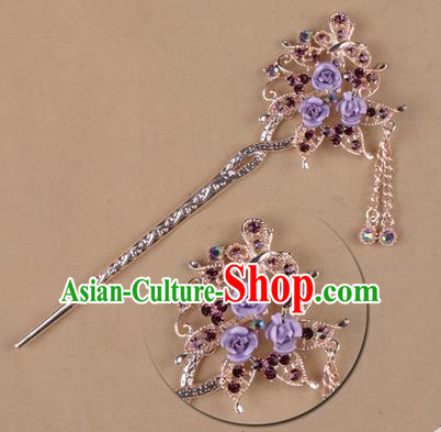 Top Grade Chinese Ancient Peking Opera Hair Accessories Diva Purple Crystal Flowers Hairpins Step Shake, Traditional Chinese Beijing Opera Hua Tan Hair Clasp Head-ornaments